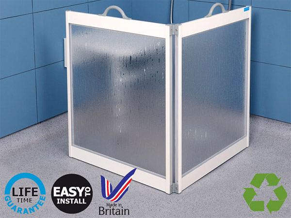Four panel fold away carer screens by contour showers ltd. Available in white or luxe silver