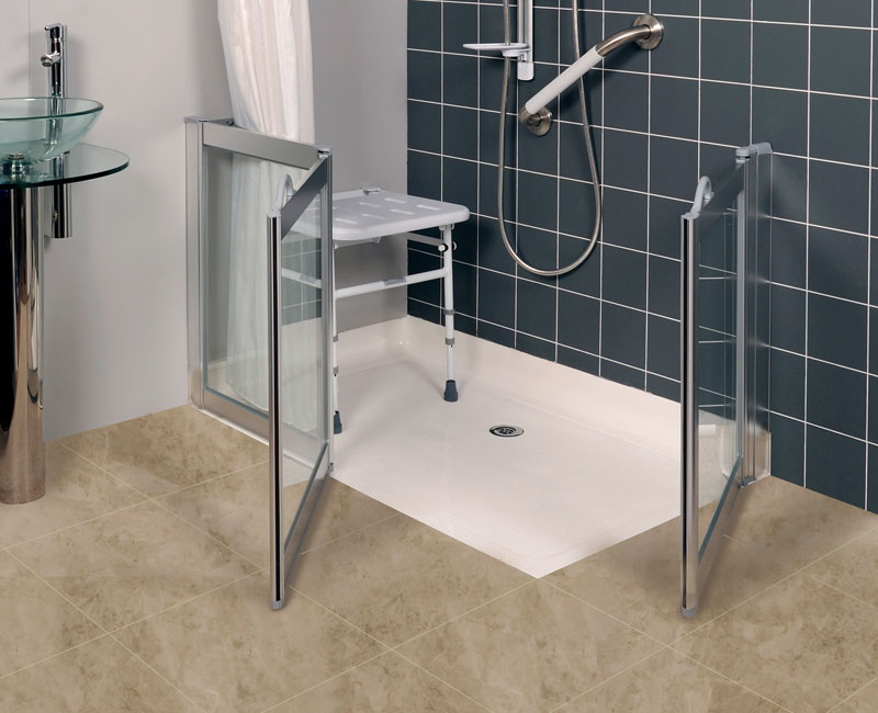 Level Access Swift Shower Tray installed example