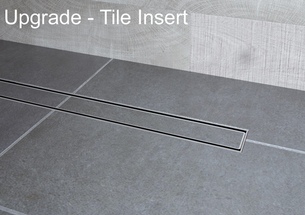 Impey Aqua-Dec Linear comes with a standard stainless steel insert; this can be upgraded to a tile insert