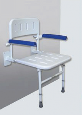 Shower Seat with Back and Arm Rests - Blue