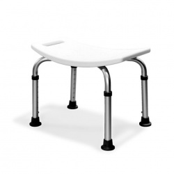 Aluminium Freestanding Shower Stool - White Seat