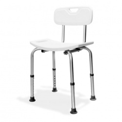 Aluminium Freestanding Shower Seat with Back Support - White