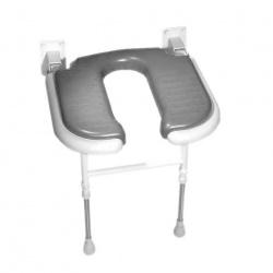 Wall Mounted Fold Up Horseshoe Padded Shower Seat with Support Legs - Grey