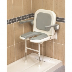 Wall Mounted Fold Up Horseshoe Padded Shower Seat with Back and Arms - Grey