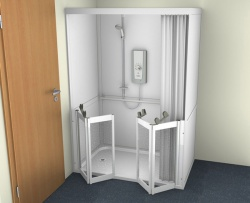 Contour Full Cubicle Shower Enclosure Option 3 - Twin Bi-Folding doors