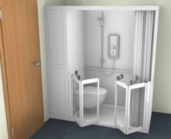 Contour Full Cubicle Shower Enclosure Option 4 - WC and Twin Bi-Folding doors