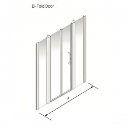Larenco Alcove Full Height Shower Enclosure Bi-fold Door with 2 Inline Fixed Panels