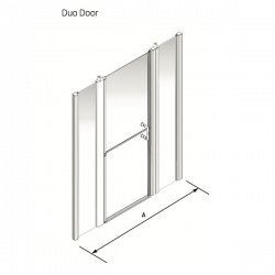 Larenco Alcove Full Height Shower Enclosure Duo Door with 2 inline fixed panels