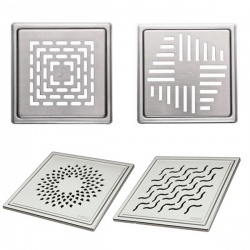 Purus Square Stainless Steel Grates for Tile Floors