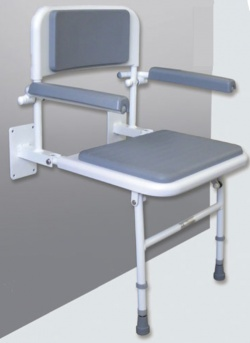 Padded Shower Seat with Back and Arm Rests - Grey