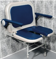 AKW Bariatric Extra Wide Horseshoe Seat with Back and Arms - Blue