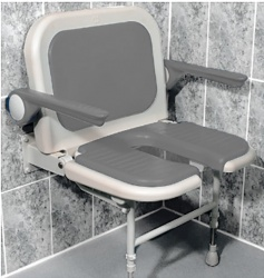 AKW Bariatric Extra Wide Horseshoe Seat with Back and Arms - Grey
