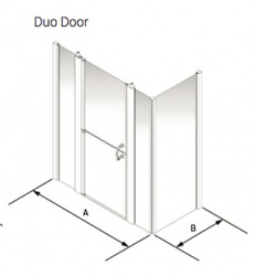 Larenco Corner Full Height Shower Enclosure Duo Door, 2 Inline Panels & Side Panel