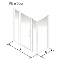 Larenco Corner Full Height Shower Enclosure Plain Door, 2 Inline Panels & Side Panel