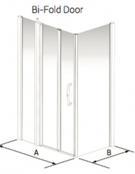Larenco Corner Full Height Shower Enclosure Bi-Fold Door, Inline Panel & Side Panel