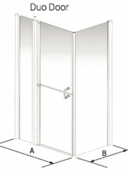 Larenco Corner Full Height Shower Enclosure Duo Door, Inline Panel & Side Panel
