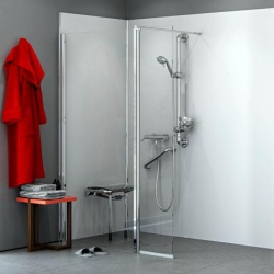 AKW Level Best Wall Hung Shower Screen with Deflector Panel